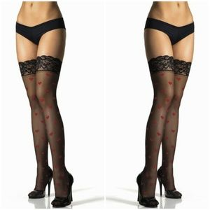d7267a564c1 Thigh Highs Accessories - Valentines Day Heart Lace Top Thigh High Stockings